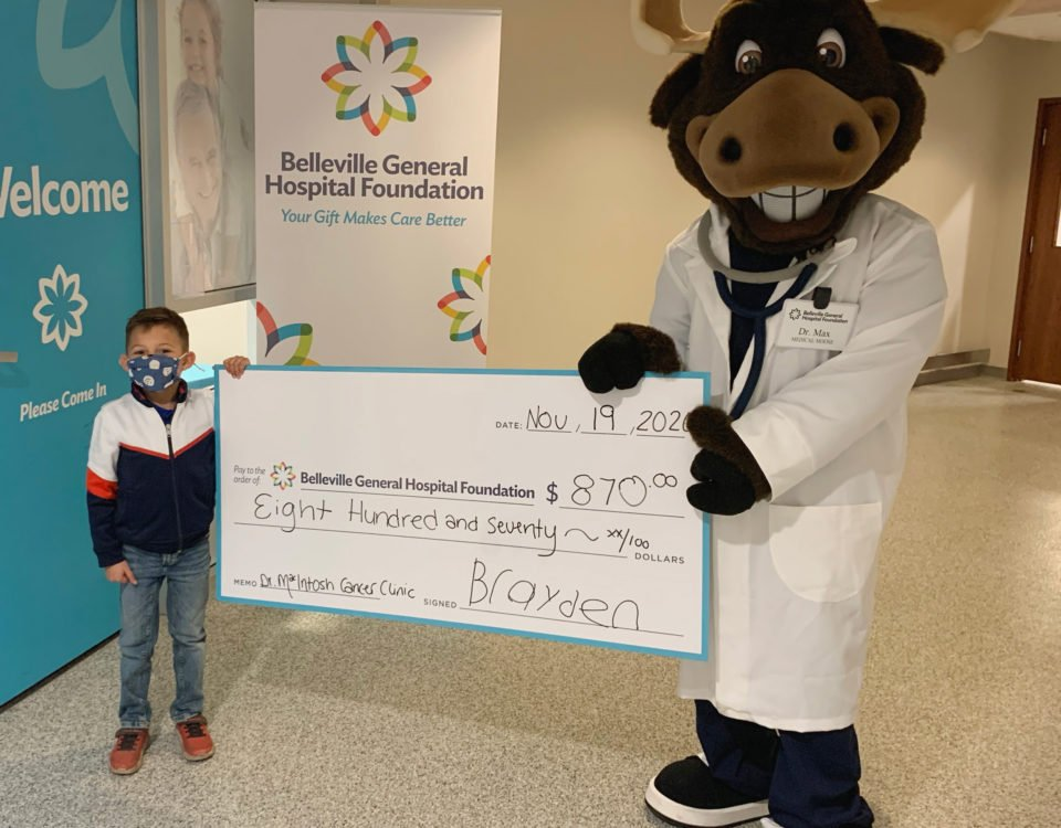6-year-old Brayden Vigneault raises $870.00 for the Dr. Mac Oncology Clinic