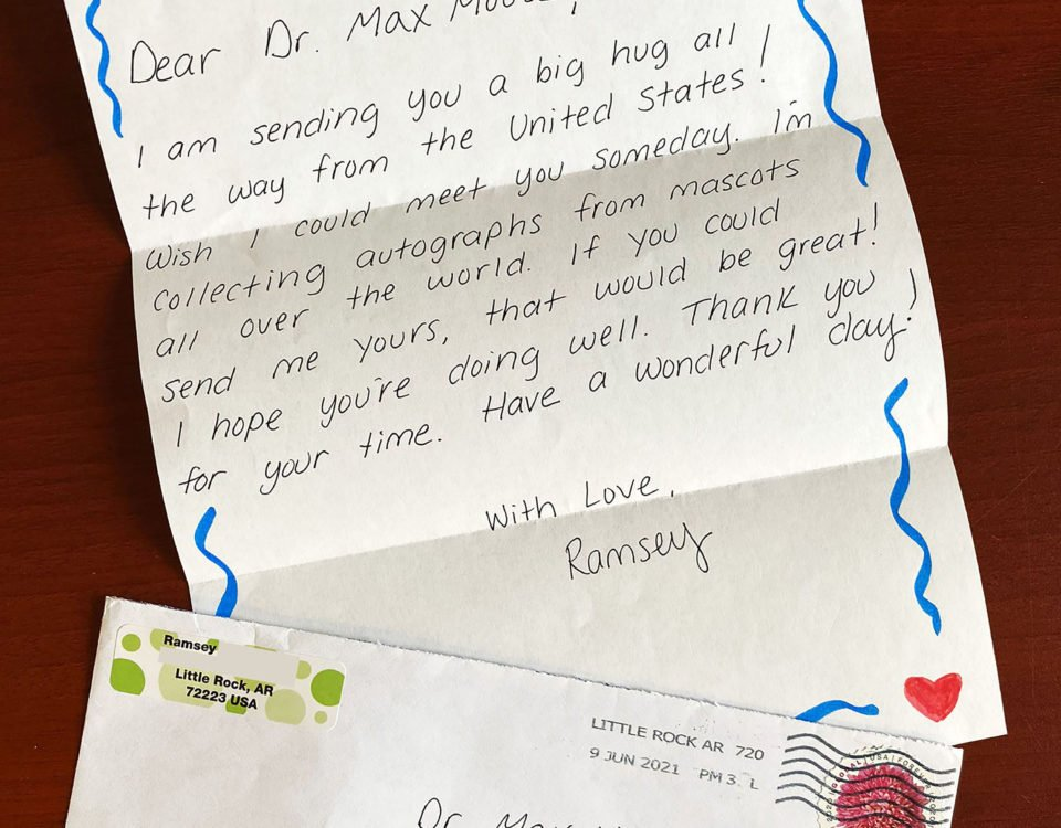 Letter to Dr. Max the Moose from Ramsey in Little Rock, Arkansas